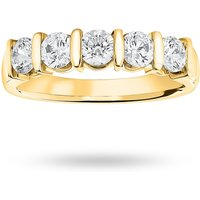 18 Carat Yellow Gold 0.90 Carat Brilliant Cut Bar Half Eternity Ring