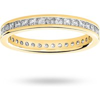 9 Carat Yellow Gold 1.00 Carat Princess Cut Channel Set Full Eternity Ring - Ring Size L.5