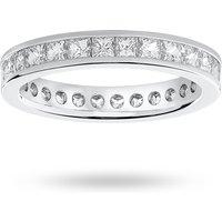 9 Carat White Gold 2.00 Carat Princess Cut Channel Set Full Eternity Ring - Ring Size Q