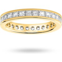 9 Carat Yellow Gold 2.00 Carat Princess Cut Channel Set Full Eternity Ring - Ring Size S