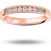 9 Carat Rose Gold 0.20 Carat Brilliant Cut And Baguette Channel Set Half Eternity Ring - Ring Size M