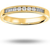9 Carat Yellow Gold 0.20 Carat Brilliant Cut And Baguette Channel Set Half Eternity Ring - Ring Size U
