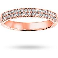 18 Carat Rose Gold 0.25 Carat Brilliant Cut 2 Row Claw Set Half Eternity Ring - Ring Size Y.5