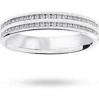 18 Carat White Gold 0.28 Carat Brilliant Cut 2 Row Channel Set Half Eternity Ring - Ring Size R.5