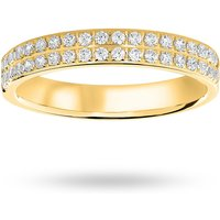 9 Carat Yellow Gold 0.25 Carat Brilliant Cut 2 Row Claw Pave Half Eternity Ring - Ring Size H