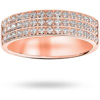 18 Carat Rose Gold 0.50 Carat Brilliant Cut 3 Row Claw Pave Half Eternity Ring - Ring Size L.5