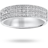 9 Carat White Gold 0.50 Carat Brilliant Cut 3 Row Claw Pave Half Eternity Ring - Ring Size P