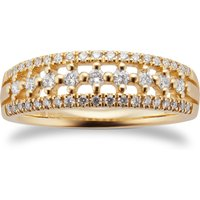 9ct Yellow Gold 0.33ct Multi Row Eternity Ring - Ring Size K