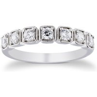 9ct White Gold 0.50cttw Diamond Square Shaped Ring - Ring Size L