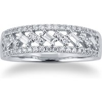 9ct White Gold 0.40cttw Baguette and Brilliant Cut Multi Row Eternity Ring