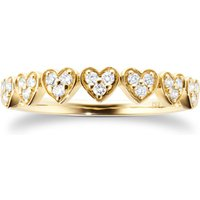 9ct Yellow Gold 0.18ct Diamond Heart Motif Eternity Ring - Ring Size M