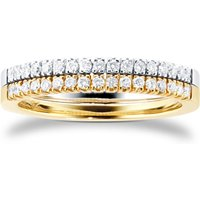 9ct White and Yellow Gold 0.34ct Diamond 2 Row Eternity Ring - Ring Size J