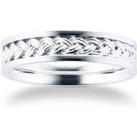 9ct White Gold Plait Pattern Mens Wedding Ring - Ring Size S