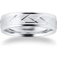 9ct White Gold Tread Pattern Mens Wedding Ring - Ring Size P
