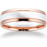 9ct White Gold and Rose Gold Two Tone Wedding Ring - Ring Size V