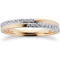 18ct Yellow Gold 0.20cttw Diamond Split 2 Row Wedding Ring