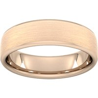 6mm Slight Court Heavy Matt Finished Wedding Ring In 18 Carat Rose Gold - Ring Size U