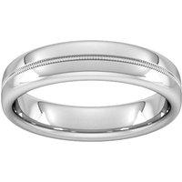 5mm Slight Court Standard Milgrain Centre Wedding Ring In 18 Carat White Gold - Ring Size P