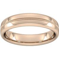 5mm Slight Court Extra Heavy Milgrain Centre Wedding Ring In 18 Carat Rose Gold - Ring Size S
