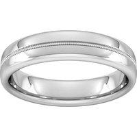 5mm Slight Court Standard Milgrain Centre Wedding Ring In 950 Palladium - Ring Size U