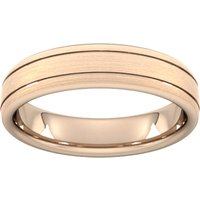 5mm Slight Court Heavy Matt Finish With Double Grooves Wedding Ring In 18 Carat Rose Gold - Ring Size Q