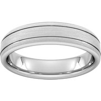 5mm Traditional Court Heavy Matt Finish With Double Grooves Wedding Ring In 18 Carat White Gold