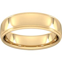 6mm Slight Court Extra Heavy Polished Finish With Grooves Wedding Ring In 9 Carat Yellow Gold - Ring Size T