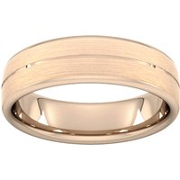 6mm Traditional Court Standard Centre Groove With Chamfered Edge Wedding Ring In 18 Carat Rose Gold - Ring Size T