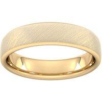 5mm Flat Court Heavy Diagonal Matt Finish Wedding Ring In 18 Carat Yellow Gold - Ring Size V
