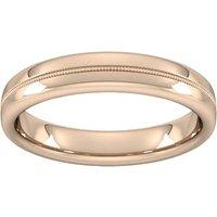4mm Slight Court Heavy Milgrain Centre Wedding Ring In 18 Carat Rose Gold - Ring Size R