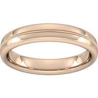 4mm Slight Court Extra Heavy Milgrain Centre Wedding Ring In 18 Carat Rose Gold - Ring Size R