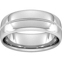8mm Flat Court Heavy Milgrain Centre Wedding Ring In Platinum - Ring Size Q