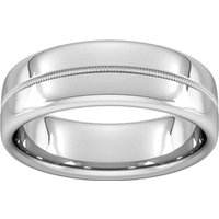 8mm D Shape Heavy Milgrain Centre Wedding Ring In Platinum - Ring Size P
