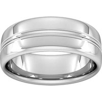 8mm Slight Court Extra Heavy Grooved Polished Finish Wedding Ring In Platinum - Ring Size V
