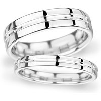 8mm Flat Court Heavy Grooved Polished Finish Wedding Ring In Platinum - Ring Size R