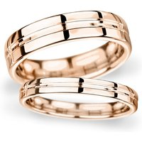 8mm D Shape Heavy Grooved Polished Finish Wedding Ring In 9 Carat Rose Gold - Ring Size V