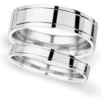 8mm Flat Court Heavy Polished Finish With Grooves Wedding Ring In Platinum - Ring Size Q