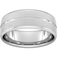 8mm Traditional Court Heavy Centre Groove With Chamfered Edge Wedding Ring In 18 Carat White Gold - Ring Size U