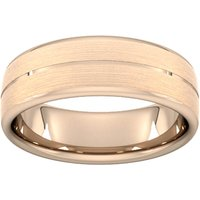 7mm D Shape Standard Centre Groove With Chamfered Edge Wedding Ring In 9 Carat Rose Gold - Ring Size P