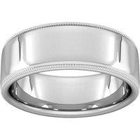 8mm Slight Court Heavy Milgrain Edge Wedding Ring In Platinum - Ring Size V