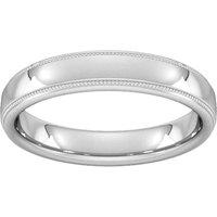 4mm D Shape Standard Milgrain Edge Wedding Ring In 950 Palladium - Ring Size U