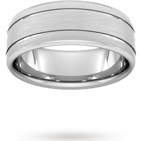 8mm Flat Court Heavy Matt Finish With Double Grooves Wedding Ring In Platinum - Ring Size U