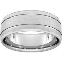 8mm Traditional Court Heavy Matt Finish With Double Grooves Wedding Ring In Platinum - Ring Size R