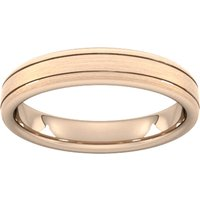 4mm D Shape Heavy Matt Finish With Double Grooves Wedding Ring In 9 Carat Rose Gold