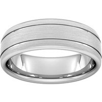 7mm D Shape Heavy Matt Finish With Double Grooves Wedding Ring In 950 Palladium - Ring Size S