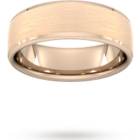 7mm Traditional Court Standard Polished Chamfered Edges With Matt Centre Wedding Ring In 9 Carat Rose Gold - Ring Size U