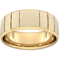 8mm Slight Court Standard Vertical Lines Wedding Ring In 9 Carat Yellow Gold - Ring Size Q