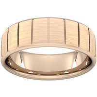 7mm Slight Court Extra Heavy Vertical Lines Wedding Ring In 9 Carat Rose Gold - Ring Size T