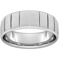 8mm Flat Court Heavy Vertical Lines Wedding Ring In Platinum