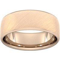 8mm Slight Court Standard Diagonal Matt Finish Wedding Ring In 9 Carat Rose Gold - Ring Size S
